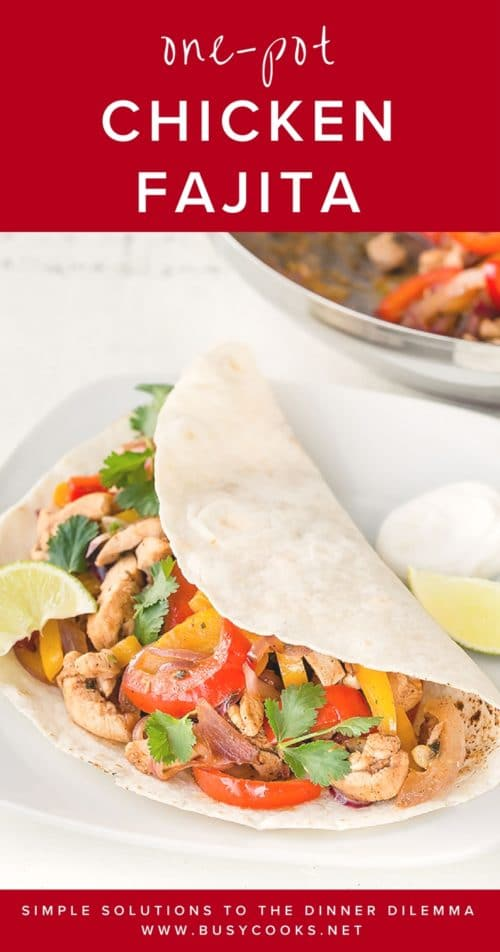 Easy chicken fajitas doesn't have to take hours of marinating! Cutting the chicken into strips helps cut down on marinating and cooking time. It's also easy to customize this simple dish with different vegetables and change things up with various garnishes! This easy chicken fajitas definitely should be in your weekly dinner rotation. #chickenfajitas #easydinnerrecipe #quickdinner #busycooks