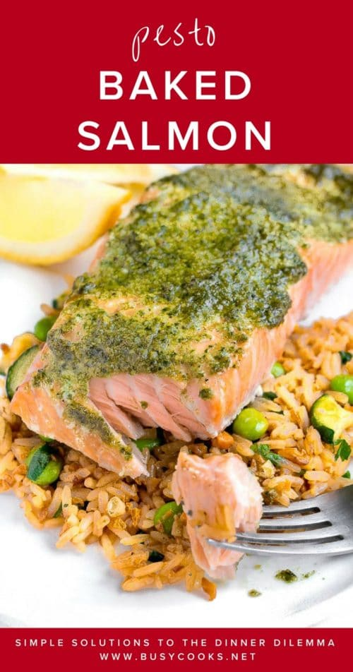 Pesto is the secret to this effortless, yet flavorful baked salmon dinner. Bursting with bright herby flavors, this easy dinner will please everyone in your family. #bakedsalmon #easydinner #quickdinner #busycooks