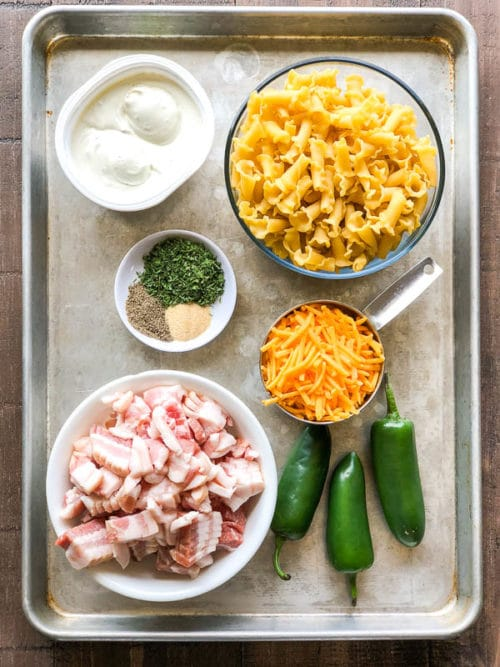 Everything you need for incredibly delicious and easy jalapeno popper pasta salad! Simple ingredients for a powerful flavor! #pastasalad #sidedish #quickpastasalad #easypastasalad #jalapenopopper #busycooks