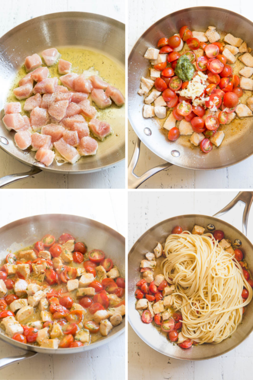 Step by step instructions for quick and easy chicken tomato pasta, a perfect weeknight dinner for the whole family.