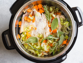 Learn my #1 secret for the most nutritious and flavorful Instant Pot Chicken Stock and make it in half the time it takes on stove top. This extra rich and flavorful chicken (or turkey) stock will be your secret ingredient for some many dishes, especially chicken noodle soup! #InstantPot #InstantPotRecipes #chickenstock #instantpotchickenstock #turkeystock