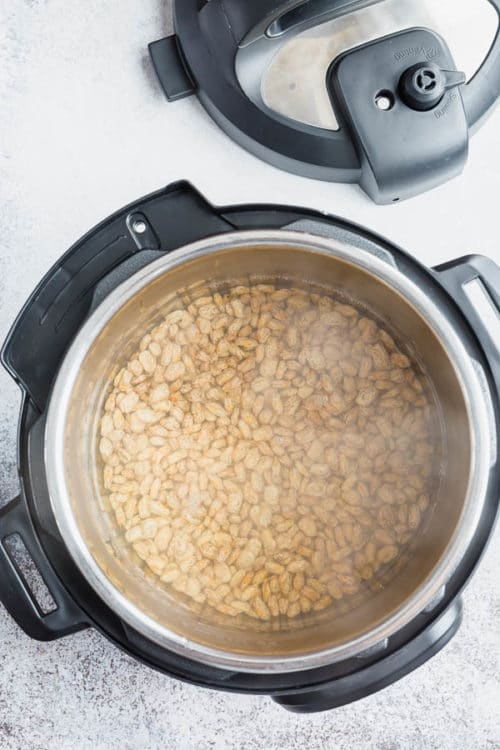 Quick and easy way to cook pinto beans in an Instant Pot without presoaking. #pintobeans #drybeans #instantpotrecipe #busycooks