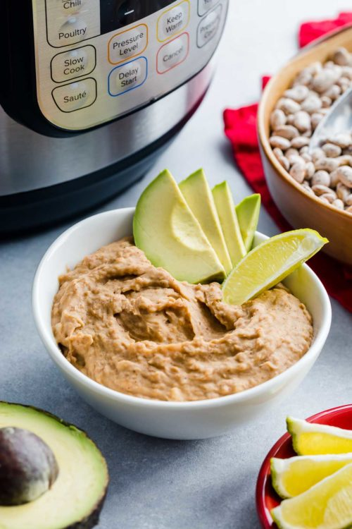 Highly customizable, this Instant Pot refried beans are a total game-changer. In less than an hour and 15 minutes, you'll get the most flavorful refried beans tailored exactly to your taste.Once you try homemade refried beans made completely from scratch, you'll never go back to canned ones.