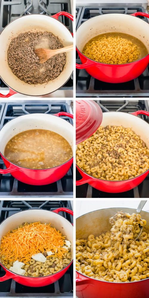 Step by step photo directions to make deliciously easy homemade hamburger helper in less than 30 minutes! #hamburgerhelper #groundbeefdinner