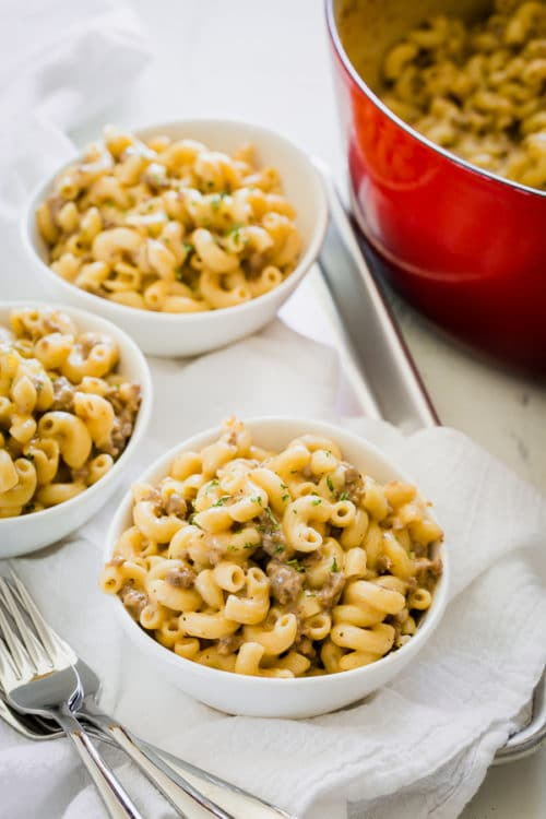 Simple pantry ingredients, one pot and only 30 minutes to make this cozy cheesy homemade hamburger helper from scratch.