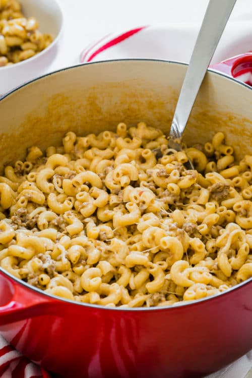 This cheesy homemade hamburger helper is a cozy meal you can make from scratch with simple pantry ingredients, one pot and only 30 minutes.