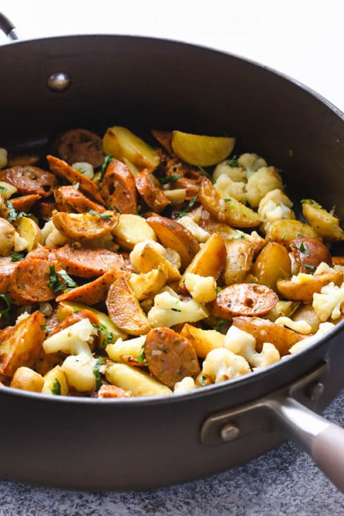 Sausage and potatoes skillet ready to be serve. A family favorite for a busy weeknight.