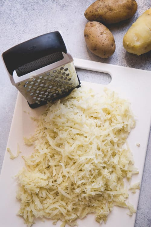 Leftover Instant Pot baked potatoes, peeled and grated for hashbrowns.