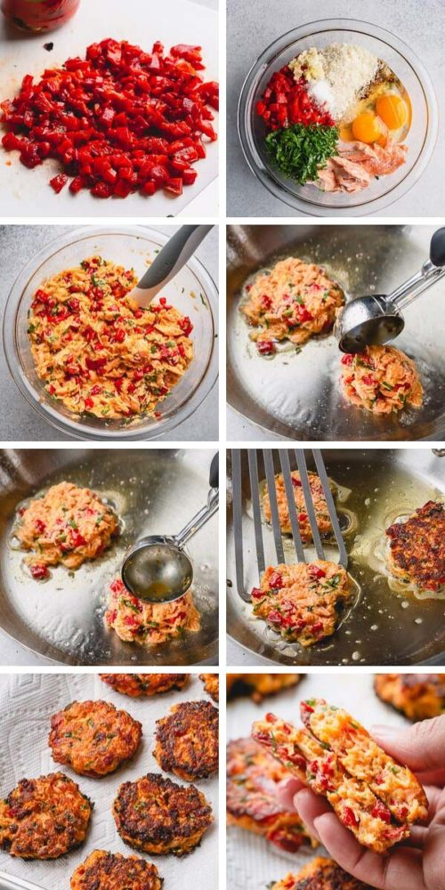 Repurpose leftover baked salmon into flavorful tender salmon cakes. Jarred roasted red pepper is the main secret to the burst of flavor in this quick and easy cook-once eat-twice meal. #salmoncakes