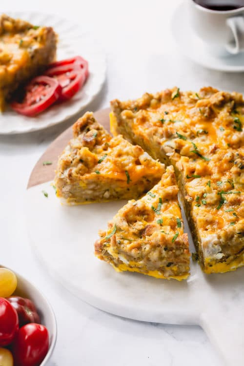 This easy Instant Pot breakfast casserole is a great way to use up leftover stuffing. Easy, flavorful and satisfying breakfast with very little effort! #leftoverstuffing #breakfastcasserole #InstantPotbreakfastcasserole #Instantpotrecipes