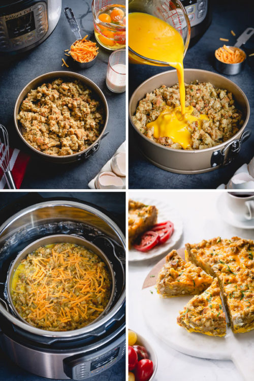 Got leftover stuffing? Repurpose it into this deliciously filling breakfast casserole, cooked in an Instant Pot. Simply add milk, eggs and cheese and you've got yourself really flavorful and easy breakfast! #leftoverstuffing #breakfastcasserole #InstantPotbreakfastcasserole #Instantpotrecipes