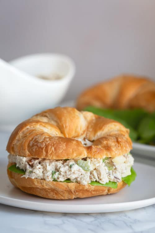 Croissant turkey salad sandwich is a fancy spin on a regular sandwich. #turkeysalad #salad #chickensalad #leftoverturkey