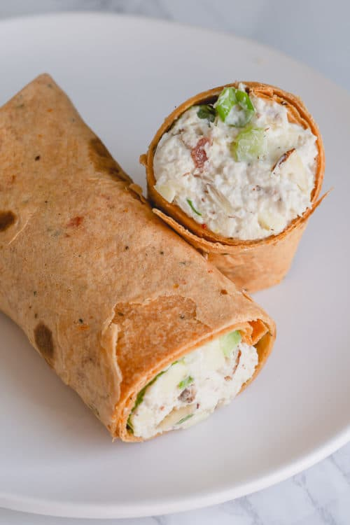 Leftover Turkey Salad Wrap makes a perfect lunch any day. #turkeysalad #salad #chickensalad #leftoverturkey
