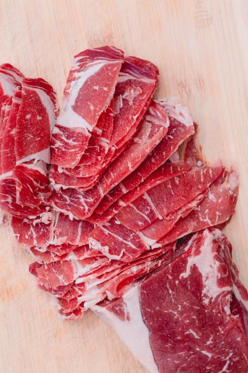 Such an easy way to cut paper thin beef slices!!! #beef #kitchentip