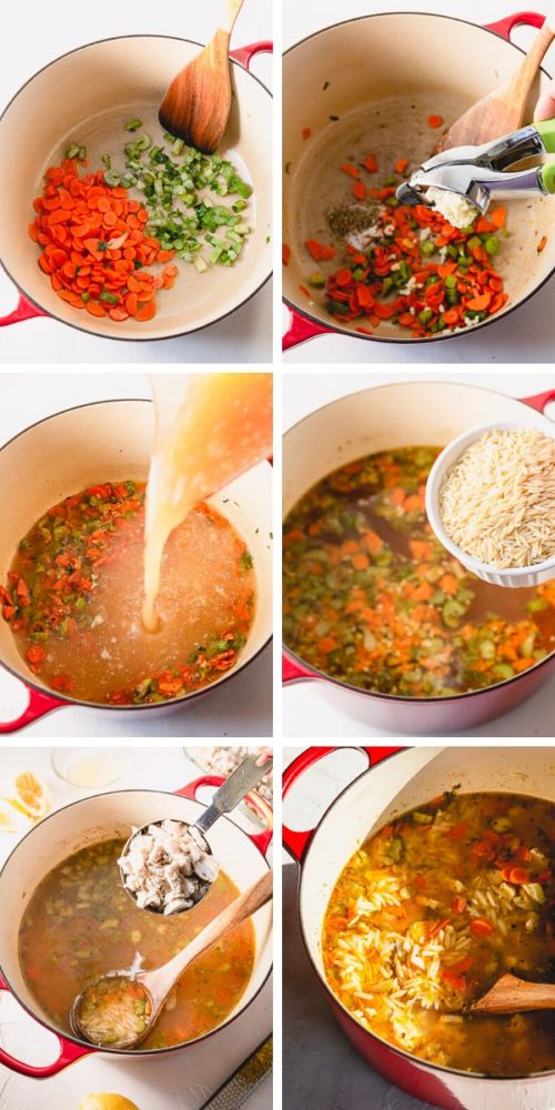 Step by step tutorial for deliciously satisfying lemon chicken orzo soup!