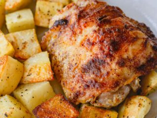 These baked mustard chicken thighs and potatoes are a flavorful and satisfying comfort meal, quick enough to make on a busy weeknight!