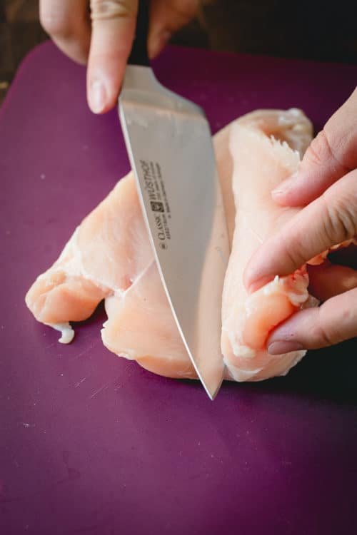 Let me show you how to butterfly a chicken breast in 2 easy steps! Butterflied chicken breast cooks faster and more evenly, ensuring each bite is juicy and tender!! #howtobutterflychickenbreast #chickenbreast