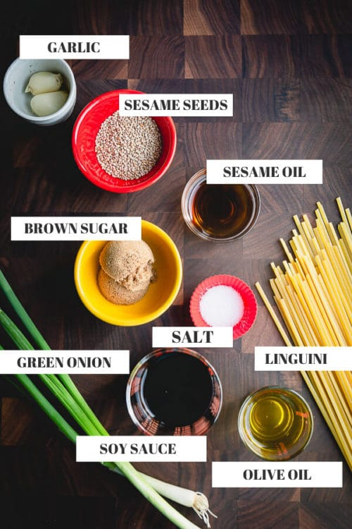 Ingredients for 15-minute Sesame Noodles, a quick and easy weeknight meal. #sesamenoodles #noodlesdish #asiannoodledish