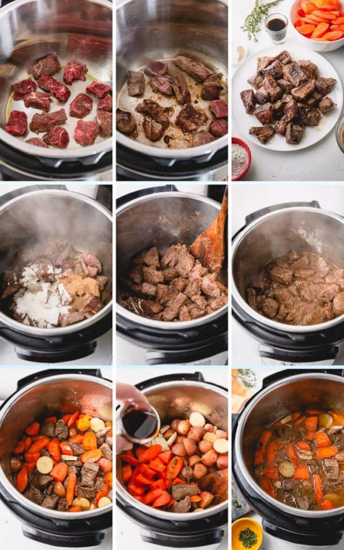 Step by Step instructions for incredibly heart Instant Pot Beef Stew in less than 90 minutes! #instantpotbeefstew #beefstew
