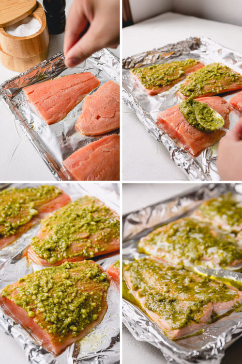 Step by step recipe for flavorful baked pesto salmon. Incredibly delicious, quick and easy weeknight dinner. #salmonrecipe
