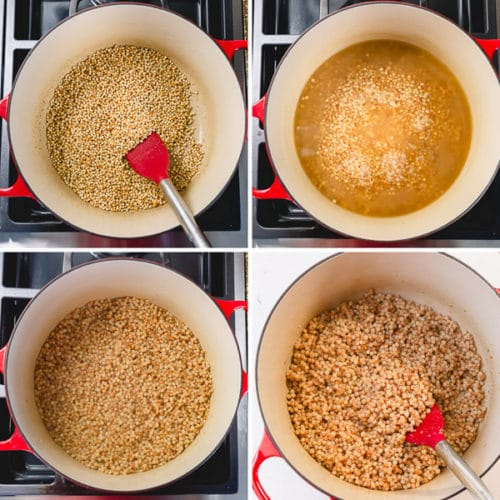 How to cook pearl couscous - quick and easy method to make deliciously nutty and chewy toasted couscous. Your new favorite side dish on a busy weeknight! #pearlcouscous #couscous