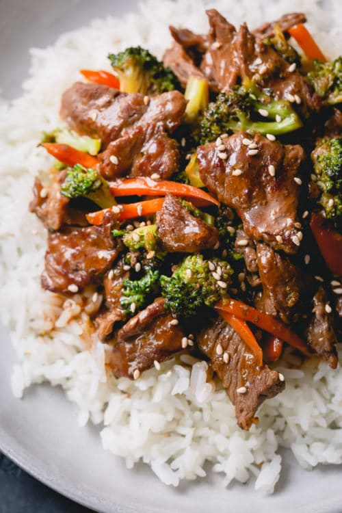 Homemade beef & broccoli stir fry comes together faster than a take-out and is much healthier! This quick weeknight meal is a family favorite!