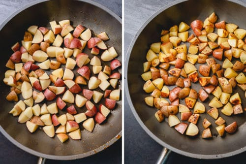 Step 2 for delicious ground beef potato hash: cook potatoes until nice and golden.