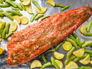 This oven roasted salmon filet with honey mustard glaze is impressive, yet effortless. The best 30-minute one sheetpan dinner!!
