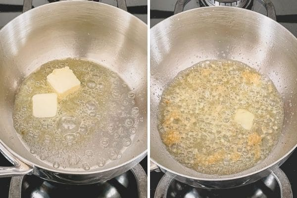 Step by step photo of melted butter and sauteéd minced garlic.