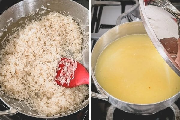 Step by step photos of sauteéd rice and then filled with stock.