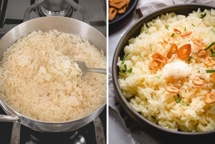 Side by side photo of cooked rice in a saucepan and final butter garlic rice in a shallow bowl with garnishes.