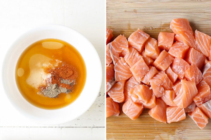 side by side image of marinade in a bowl and chopped salmon.