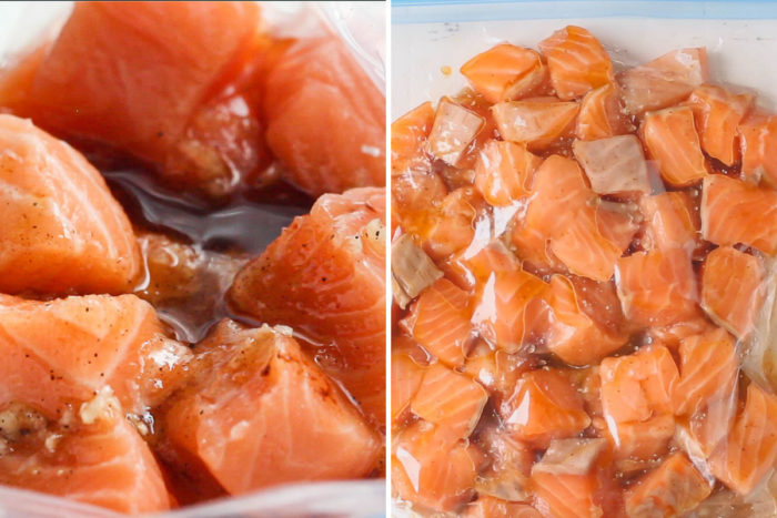 side by side image of salmon cubes in a ziplock bag with marinade.