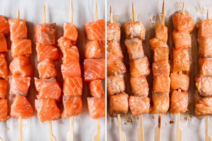 side by side image of salmon skewers, raw on the left and baked on the right.